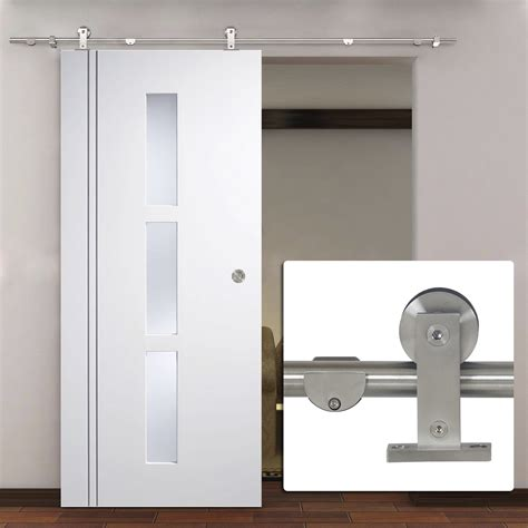 Sliding Interior Door Hardware by 6 6 Ft Modern Stainless Steel Interior Sliding Barn Wood