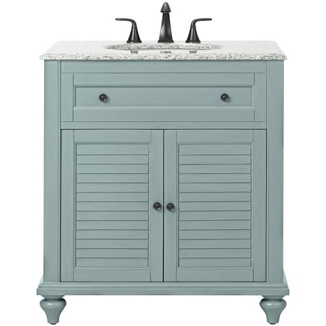Home Depot Bathroom Vanity Home Decorators Collection Hamilton Shutter 31 In W X 22 In D Bath Vanity In Sea Glass With