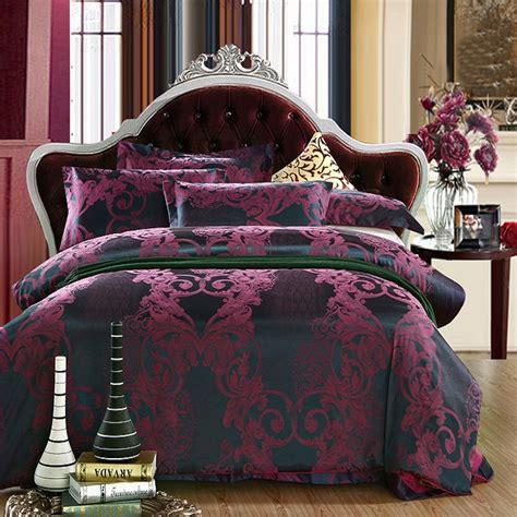 adult bedding luxury jacquard plum brown bedding set silk satin adult