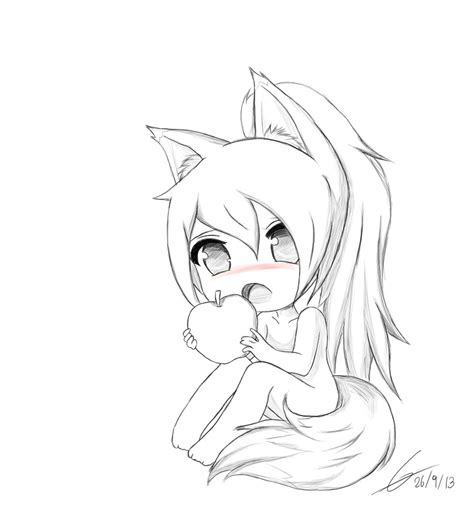 fox girl coloring pages sketch coloring page chibi fox girl owo by potatochipery on deviantart