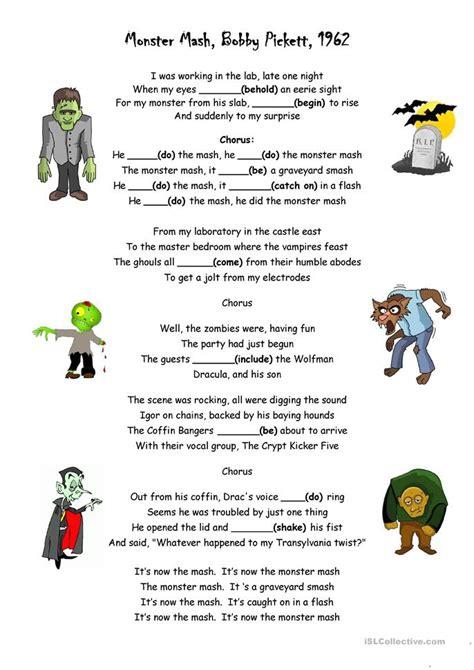 printable lyrics monster mash monster mash worksheet free esl printable worksheets