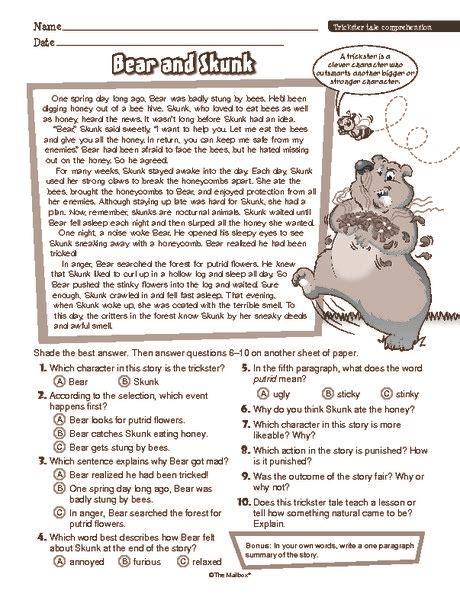 reading comprehension test pdf esl reading comprehension worksheet trickster story