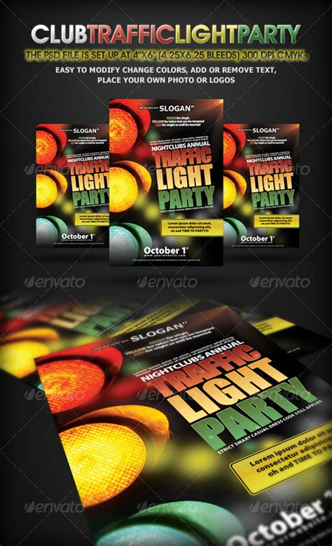 Traffic Light Party Nightclub Flyer Template Night Club Fliers Lights Flyer Template