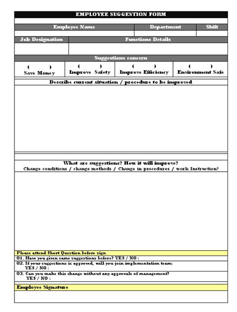 Employee Suggestion Card Template by Employee Suggestion Form
