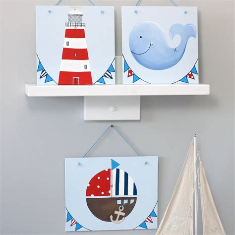 Personalised Nautical Nursery Wall Art By Liza J Design Nautical Nursery Wall Decor