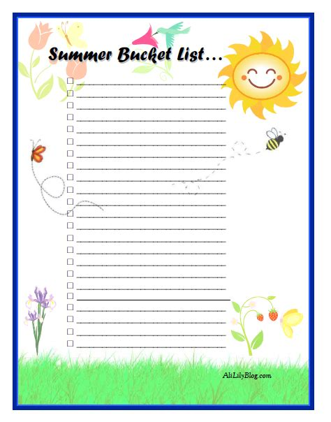 summer to do list template 6 best images of blank summer list printable