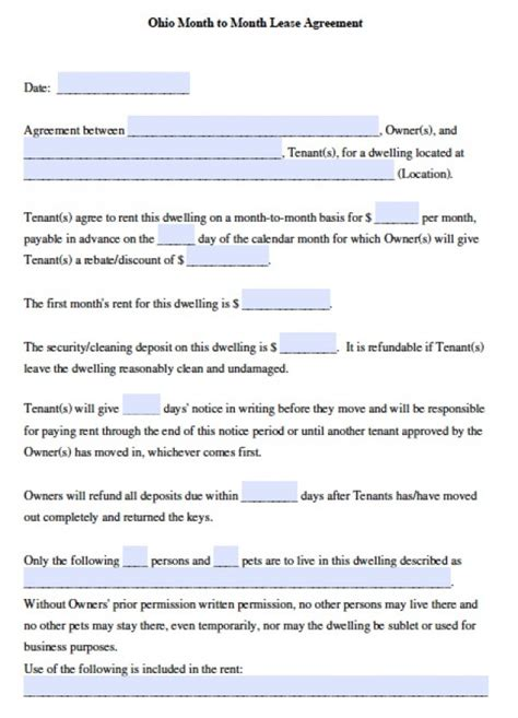 printable lease agreement ohio free ohio month to month rental agreement pdf word doc