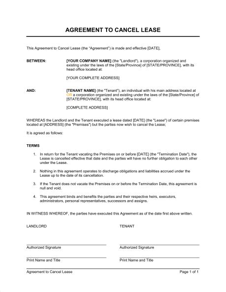 Cancel Tenancy Agreement Letter Template Agreement To Cancel Lease Template Sle Form Biztree