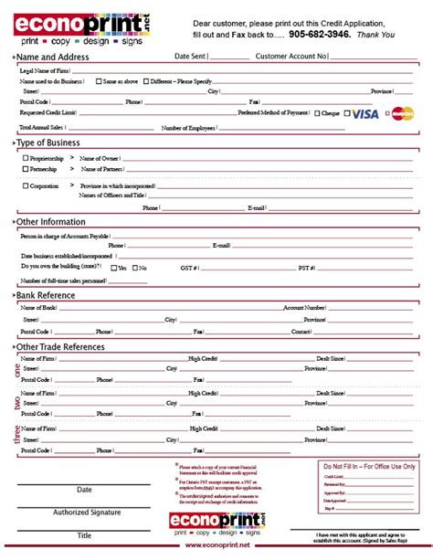 Vendor Credit Application Template business application form new account application form