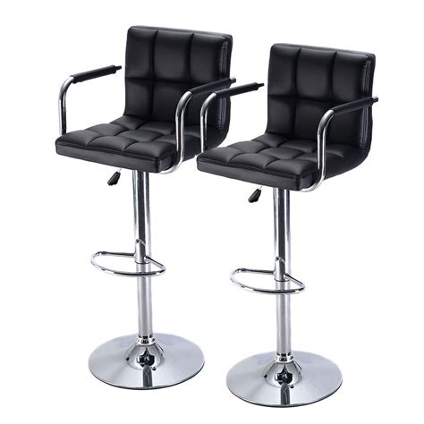 Leather Bar Stool Chairs by Set Of 2 Bar Stool Pu Leather Barstools Chair Adjustable