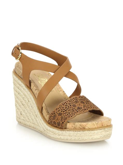raffia sandals lyst ferragamo gioela raffia leather platform wedge