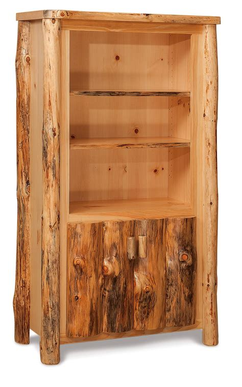rustic log bookcase with doors