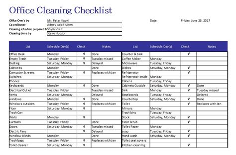 5 free sle office cleaning schedule templates