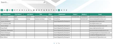 Sharepoint Employee Directory Table Template With Pop Up Employee Photo Directory Template