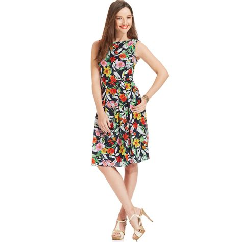 Branded Ny Collection Tosca Colorful Flower Dress jones new york floral printed aline dress in multicolor navy multi lyst