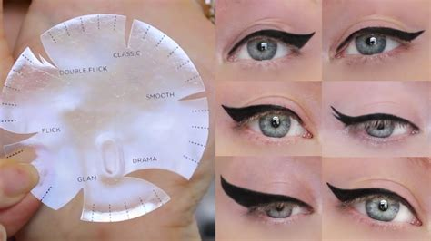 kiss cut tutorial winged eyeliner tutorial 6 different styles one stencil