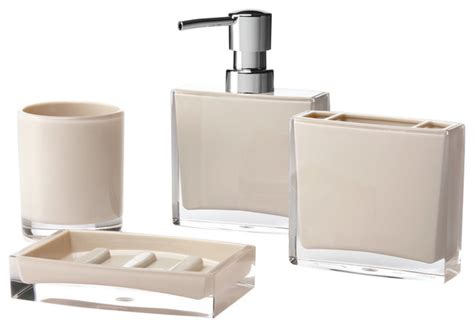 Iced 4 Piece Bathroom Accessory Set Beige Modern Modern Bathroom Accessory Sets