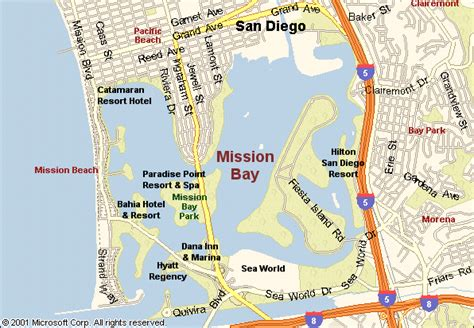 san francisco map mission bay map of mission bay san diego california