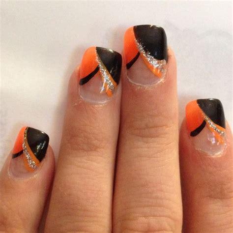 easy nail art orange and black 60 stylish orange and black nail art design ideas