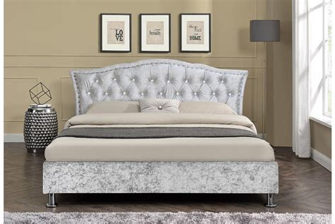 silver bed frame georgio crushed velvet silver bed frame king size