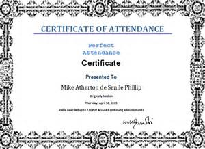 Certification Letter For Attendance ms word perfect attendance certificate template word