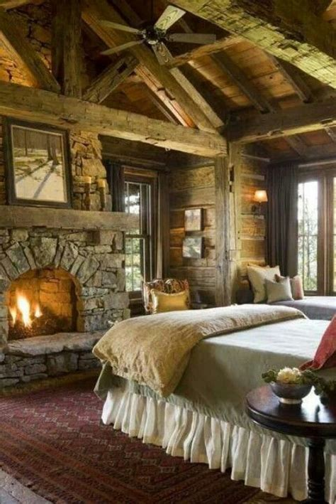 romantic rustic bedrooms log cabin rustic bedroom fireplace for the home pinterest