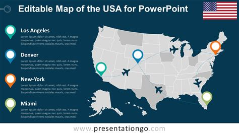 interactive map of usa for powerpoint usa editable powerpoint map presentationgo