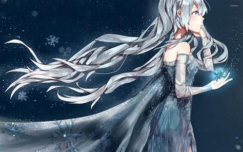 Anime Queen Wallpaper | anime ice queen holding a magical snowflake wallpaper