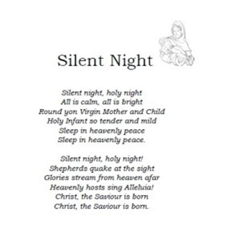 silent night lyrics printable version christmas carol lyrics silent night ichild