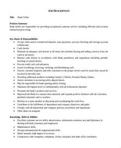 bank teller description resume