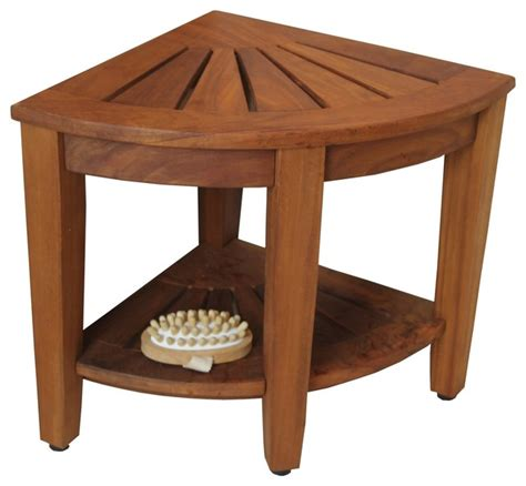 teak corner shower bench 15 5 quot teak shower bench with shelf from the corner