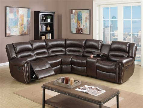 theater sectional reclining sofa brown bonded leather home theater reclining sectional