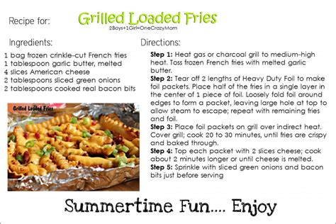 free printable appetizer recipes grilled loaded fries and strawberry lemonade are the