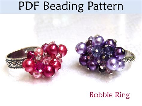 beading pdf beaded bobble ring pdf beading pattern by