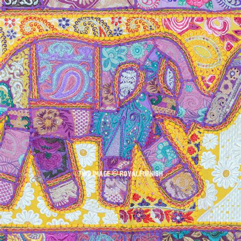 Elephant Patchwork Fabric - purple patchwork embroidered elephant fabric wall hanging