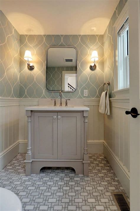 wallpapered bathrooms ideas minimalist grey geometric bathroom wallpaper ideas home