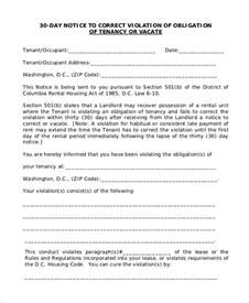 30 Day Notice To Landlord Sle Letter by Sle 30 Day Notice To Landlord 7 Exles In Word Pdf