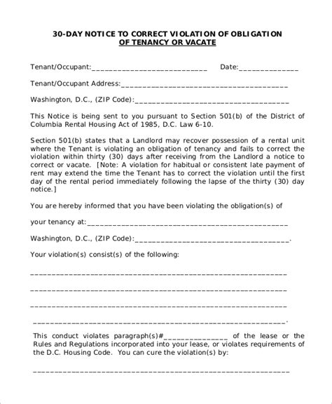 30 day notice letter to landlord sle 30 day notice to landlord 7 exles in word pdf