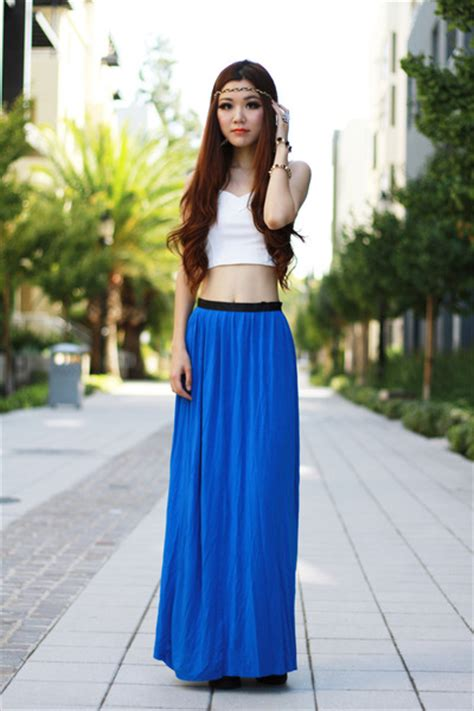 blue maxi topshop skirts white cropped foreign exchange