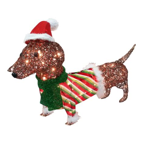 pre lit tinsel dog dachshund light shop collectibles daily