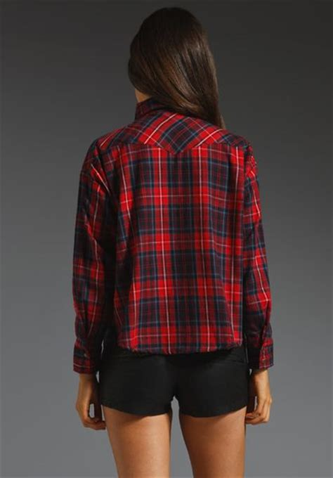 Crop Flanel lna cropped flannel top in plaid lyst