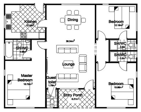 floor plan for a bedroom 3 bedroom bungalow house floor planshouse plans exles