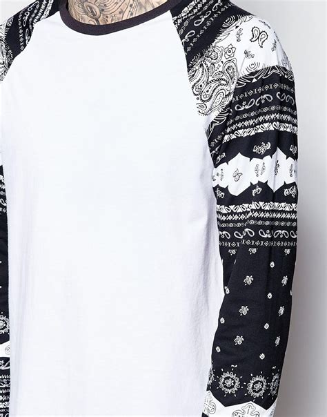Print Sleeves T Shirt lyst asos longline sleeve t shirt with bandana