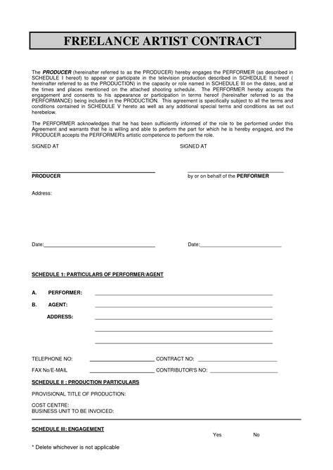 freelance employment contract template sabc contract 2010 pdf freelance artist contract by