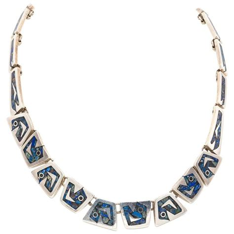 Handmade Mexican Jewelry - handmade mexican sterling silver link necklace with lapis