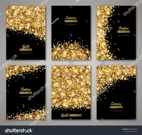 new year place cards templates set of black and gold banners greeting card or flyers