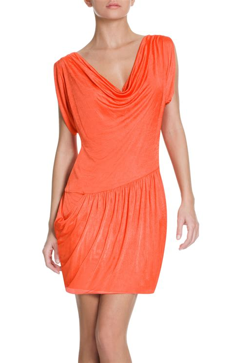 asymmetrical draped dress bcbgmaxazria runway draped asymmetrical dress in orange