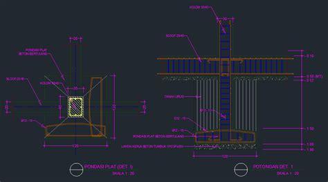 detail pondasi foot plat beton bertulang contoh gambar autocad arsitur media desain