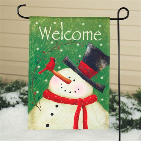 snowman garden flag winter garden flags miles kimball