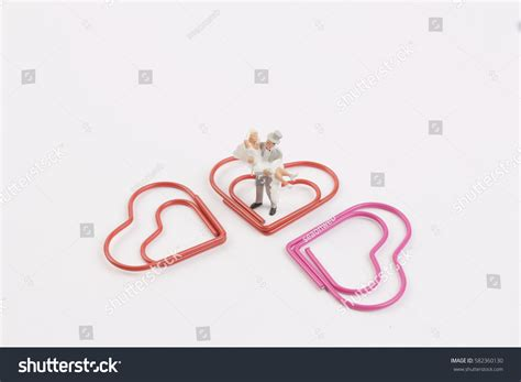 Wedding Paper Clip by Tiny Wedding Figure Paper Clip Stock Photo 582360130